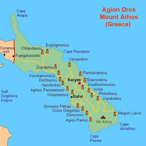 Map of Mt Athos