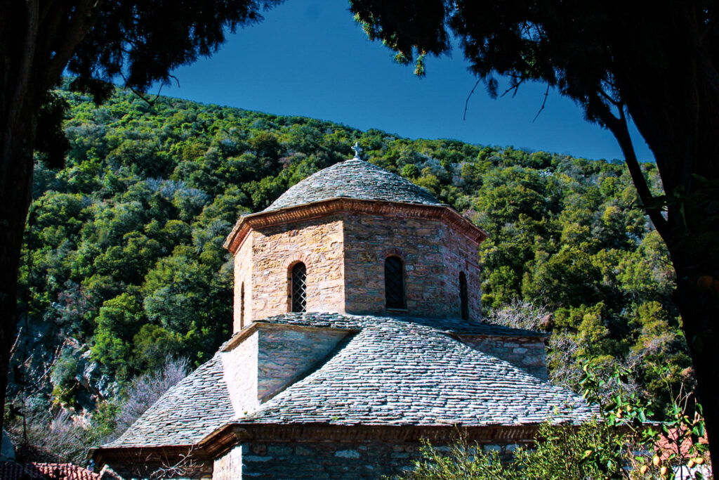 The Evangelistria Monastery where the blue and white Greek flag was first flown.was